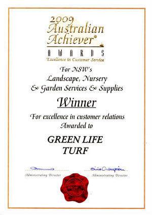 2009 Australian Achievers Award for Australias Landscape Nursery + Garden Services + Supplies