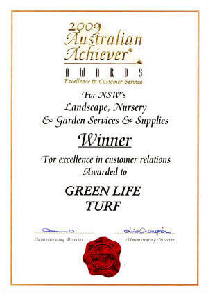 2009 Australian Achievers Award for Australias Landscape Nursery + Garden Services + Supplies