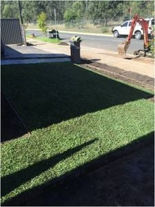 Green Life Turfs patented Bullseye Instant Grass turf beautifully laid to enjoy instantly