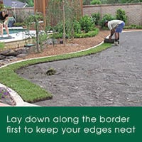 Lay your lawn starting with the borders to keep edges neat
