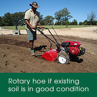 Prepare your quality soil for laying your lawn by using a rotary hoe