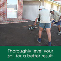 Prepare your soil for laying your lawn by thoroughly levelling your top soil