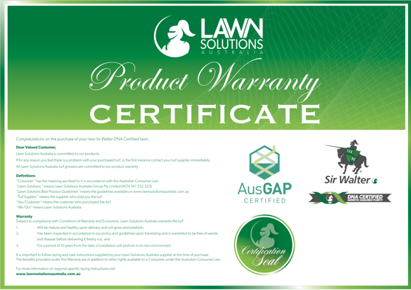 Lawn Solutions Australia 10-Year Warranty